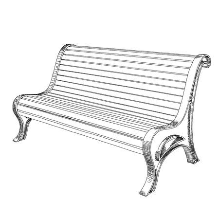 Ławka uliczna lub parkowa wykonana z drewnianych listew na kutych podporach, z wygiętym oparciem. Szkic czarno-biały ręcznie.