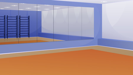An empty gym with mirrors on the wall and Swedish wall. Vector background.