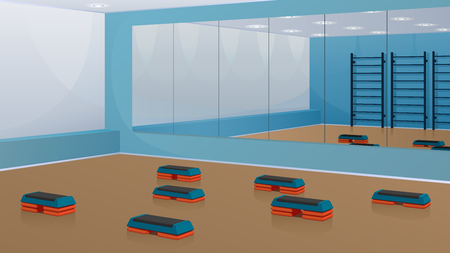 Gym for fitness, with step-platforms on the floor and mirrors on the wall. Vector background in blue and orange shades.