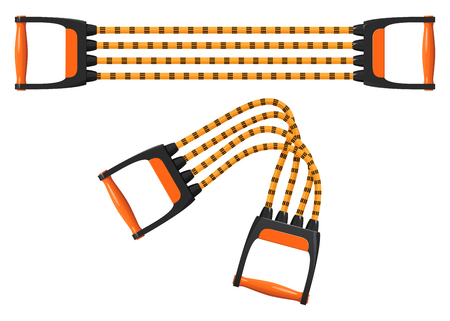 Orange shoulder expander with elastic cords, stretched and folded. Vector illustration on white background. Archivio Fotografico - 96104375