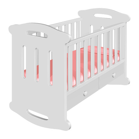 Childrens white cot-rocking chair for a baby, with high bows, bars and handrails, pink mattress and pillow, on white background
