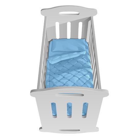 Childrens white cot rocking chair with handrails, blue blanket and pillow, top view. Isolated vector illustration on white background.