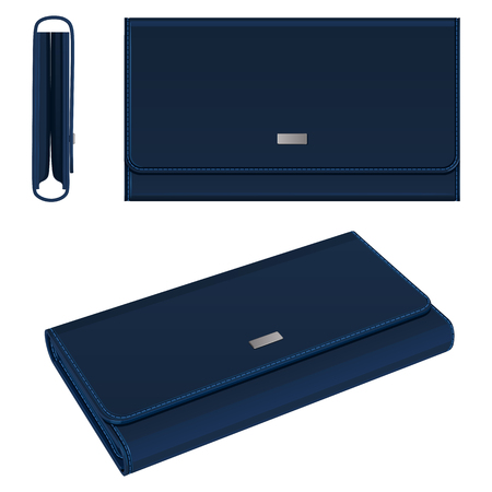 Dark blue leather rectangular purse with magnetic fastener, top view, side view and general view, white background