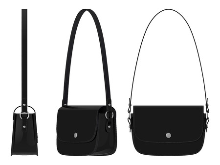 Ladies leather black bag with shoulder straps and magnetic clasp, top view, side view and angle, white background