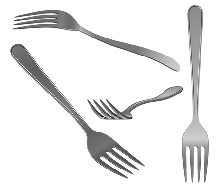 Fork in stainless steel, in different angles, on a white background