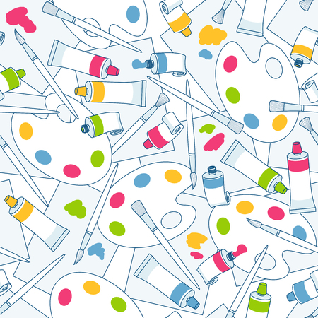 Seamless vector pattern of brushes, multi-colored tubes with paint, palettes and sheets of paper on a white background.