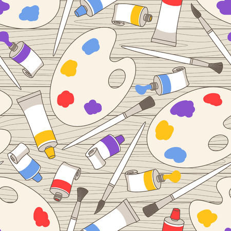 Seamless vectorial pattern of tubes with paints, palettes and paint brushes chaotically scattered on wooden boards Illustration
