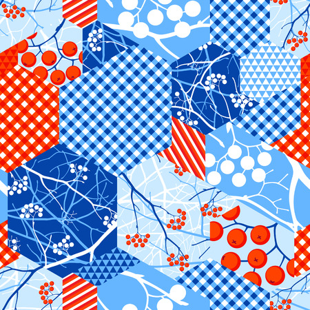 Abstract winter seamless pattern of rags with silhouette of berries and branches of rowan and geometric ornament, in bright red, blue and white tones Banco de Imagens - 96990889