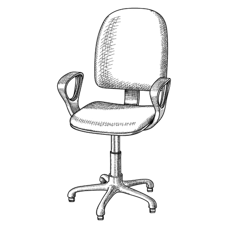 Office revolving chair with backrest and armrests, hand drawn. Black and white contour pattern with shading, on white background