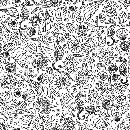 Seamless vector ornament from outlines of marine animals and plants, black linear pattern on white background