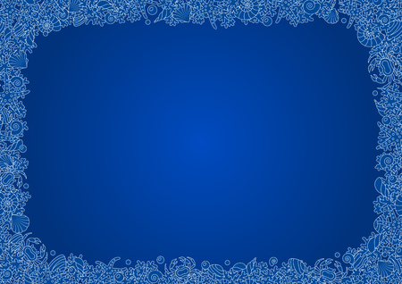Blue seamless vectorial frame of horizontal format A4 from outline images of coral, sea shells and crabs along the edge Illustration