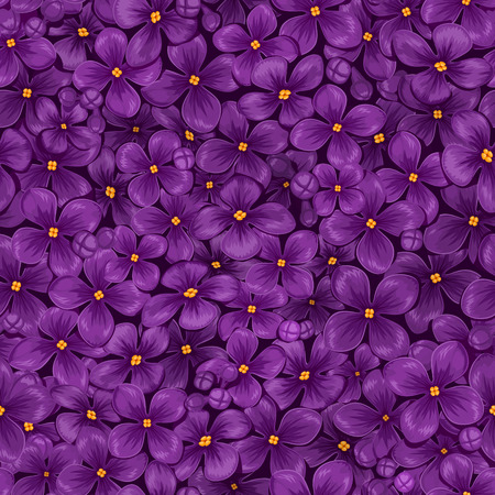 Seamless vector texture of blooming purple lilac with yellow stamens