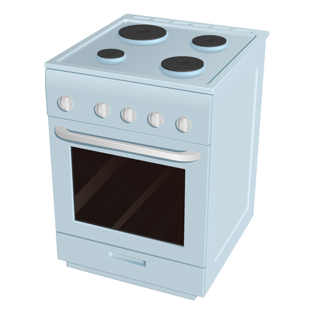 Electric cooker with four burners of different size and oven, blue enameled on a white background