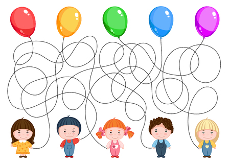 Five children hold balloons. Find where is is ball