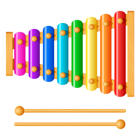 Child xylophone with eight different colored metal plates, isolated on white background