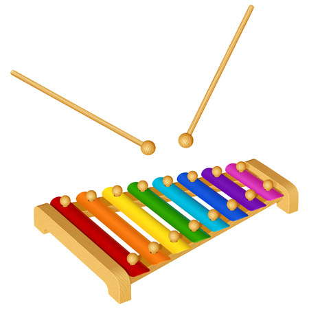 child musical instrument xylophone with eight colored metal plates isolated on white background 写真素材 - 97460258