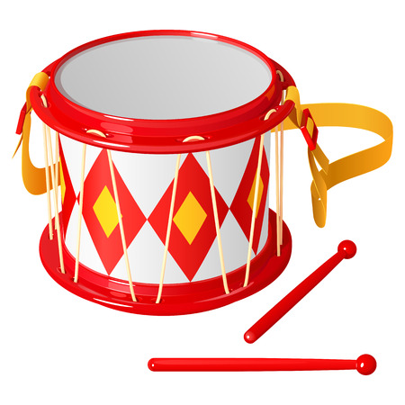 Childrens drum with chopsticks, bright red and yellow, isolated on white background Illustration