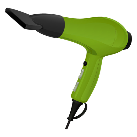 Green hair dryer for hair drying with a nozzle - hub, vector image on white background