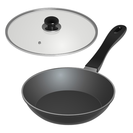 A frying pan with a glass lid and a plastic handle, isolated on a white background