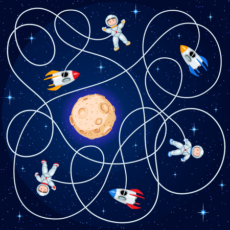 Three cosmonauts and three spacecraft are floating in open space around a yellow planet with craters. Unravel the hoses and guess where is the ship children's maze game. Illustration