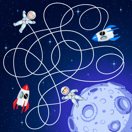 Two spacecraft are floating in the space around asteroid with craters. Unravel the hoses and guess which ship the astronaut landed on the asteroid Children's maze game. Illustration