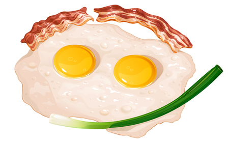 Fried eggs with fried bacon and green onions, vector illustration on white background Ilustracja