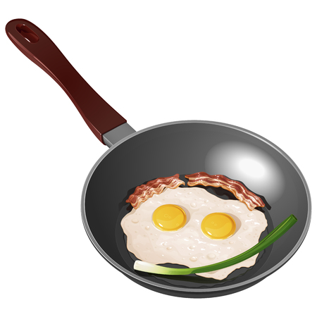 Fried eggs on a frying pan, with fresh green onions and fried bacon, isolated on a white background