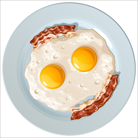 Scrambled eggs with bacon on a blue porcelain plate design Illustration
