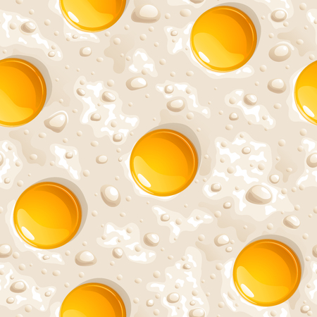 Infinite fried eggs with bright yellow yolks, seamless vector background  イラスト・ベクター素材