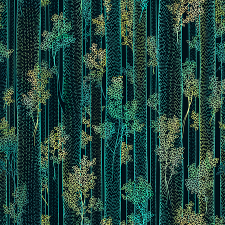 Pattern of tall trees with leaves and straight trunks design