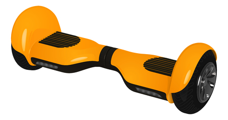 Yellow gyroscooter with black wheels, vector image on white background