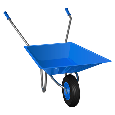 Single-wheeled wheelbarrow with blue body and handles, vector illustration on white background