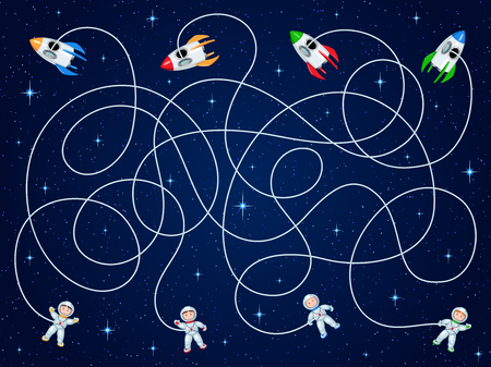 Four astronauts and four spacecraft are floating in open space with stars. Unravel the hoses and guess where is the ship? Children's game is a maze.