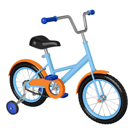 Childrens bicycle with detachable training wheels, orange-blue colors, isolated on white background