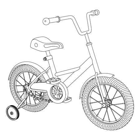 Childrens bicycle with detachable training wheels, outline vector illustration on white background Ilustração