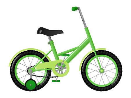 Childrens green bicycle with detachable training wheels, isolated on white background