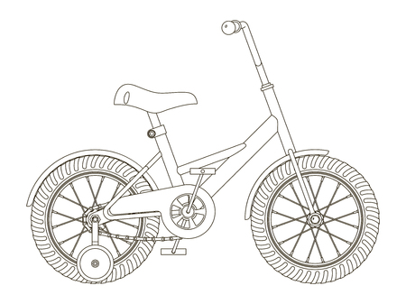 Children's bicycle with detachable training wheels, outline vector illustration on white background, side view
