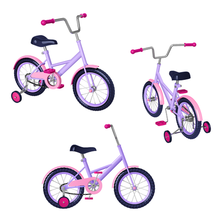 Childrens bicycle with detachable training wheels, pink - purple colors, isolated on white background