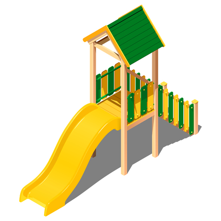 Child plastic yellow - green hill with a roof - house, vector isometric pattern on a white background with a shadow