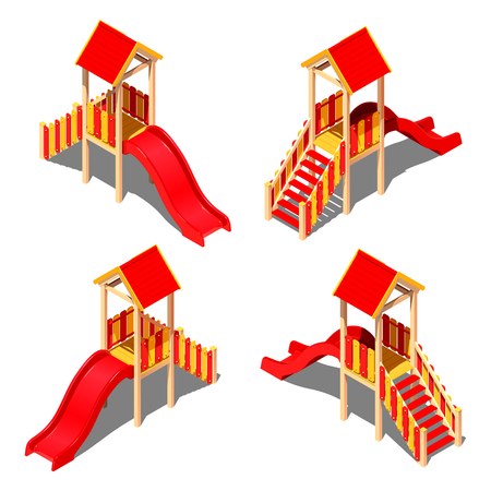 Child plastic yellow - red hill with a roof - house, vector isometric pattern on a white background with a shadow