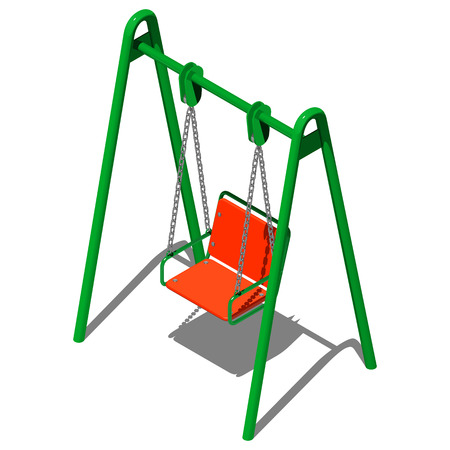 Green childrens swing with armchair, vector illustration in isometric perspective on a white background Illusztráció