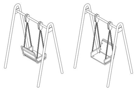Baby swing with chair, black and white vector outline illustration in isometric view on white background