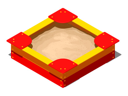 Red and yellow wooden childrens sandbox with bows, seats on the corners and a pile of sand for games, isometric vector illustration on a white background with a shadow Illustration