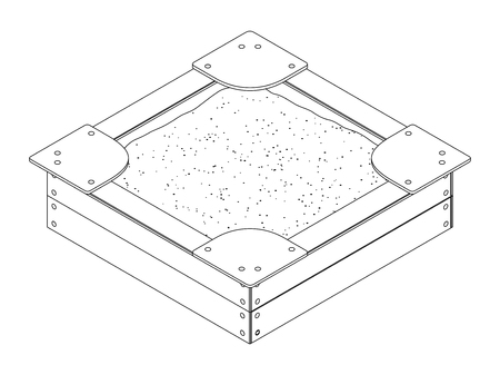 Black and white isometric vector outline drawing of a wooden sandbox with bumps, sitting on the corners and a bunch of sand