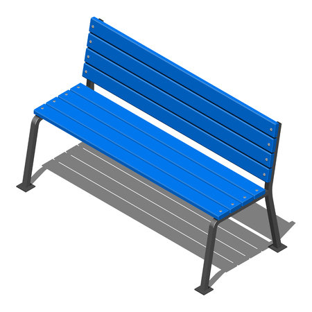 Blue street bench made of wooden slats on metal supports, vector isometric pattern on a white background with shadow Vectores