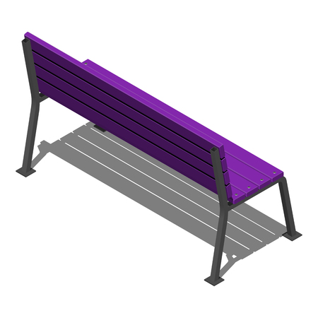 Purple street bench made of wooden slats on metal supports, vector isometric pattern on a white background with shadow, back view Vectores