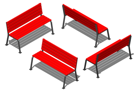 Red street bench made of wooden slats on metal supports, vector isometric pattern on a white background with shadow