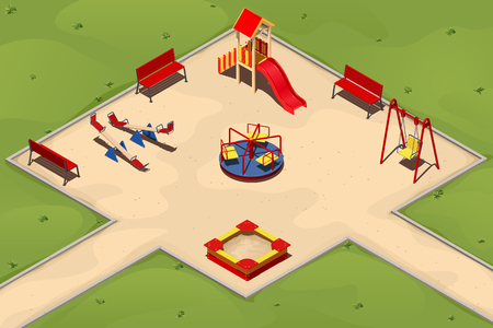 Childrens playground with a sandpit, swings, carousels and a hill, vector illustration in isometric Illustration