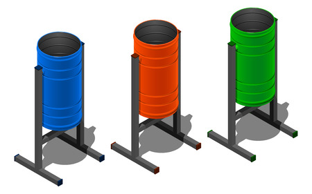 Three colored round litter bins, blue, orange and green. Isometric illustration on white background with shadow