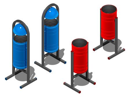Cubos de basura redondos de colores, azul y rojo. Ilustración isométrica sobre fondo blanco con sombra Ilustración de vector